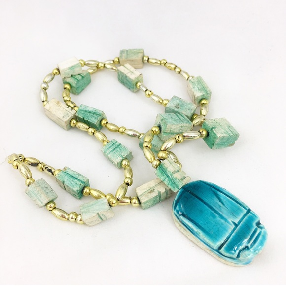 Vintage Jewelry - Vintage Faience Egyptian Revival Scarab Necklace